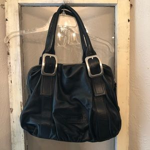 Cole Haan Large Buckle Leather Shoulder Bag